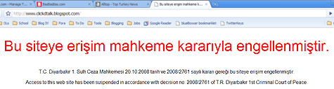 Blogger's banned in Turkey screenshot